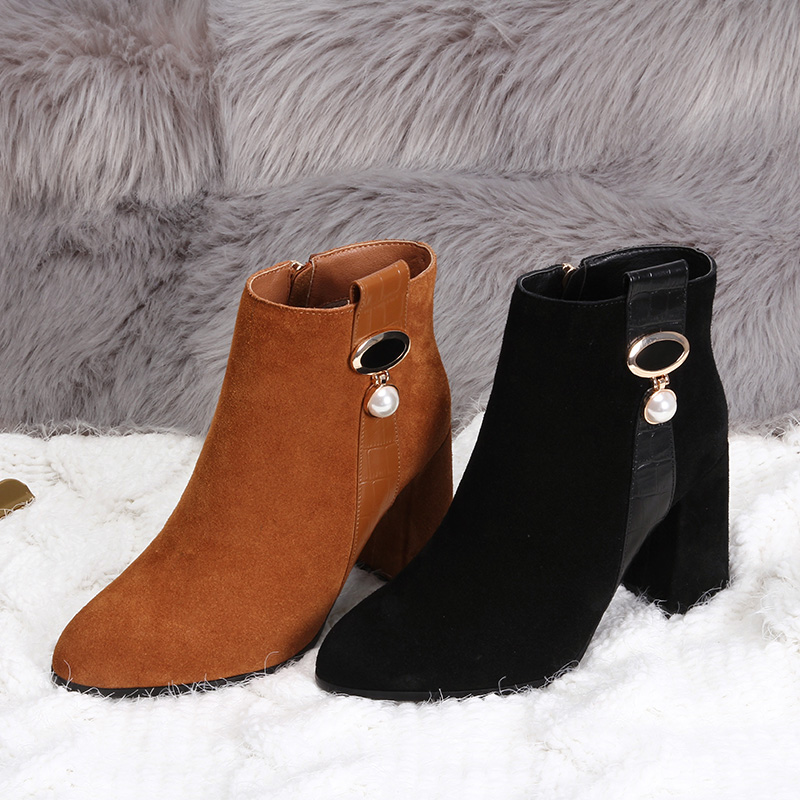 L&T Autumn Winter Women Boots SEXYl Ladies  boots COW Suede Leather ankle boots High heeled zipper Snow boot dunlop winter maxx wm01 205 65 r15 t