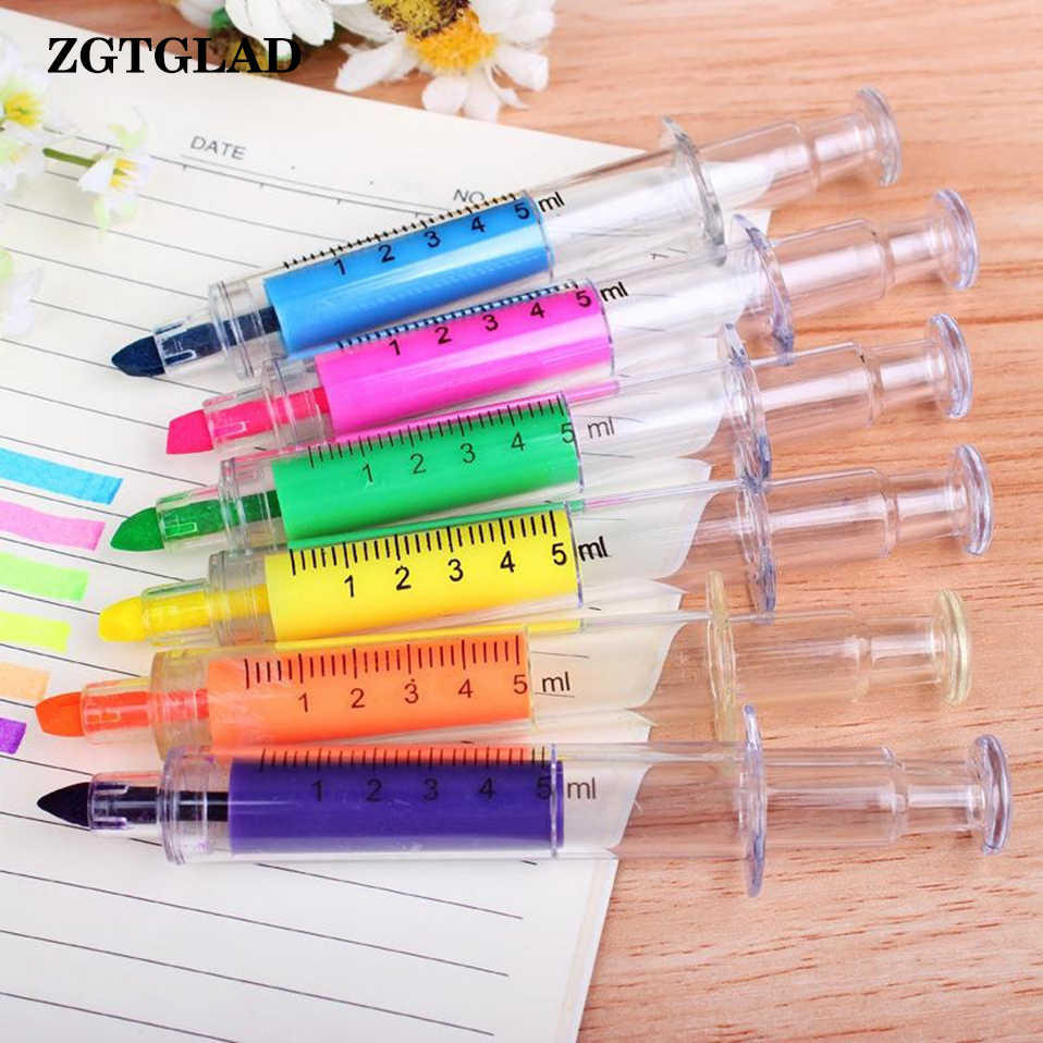 ZGTGLAD 1Pc Random Color Syringe Highlighter Pen Plastic School Office Nurse Doctor Student Novelty Christmas Party Gifts Favors