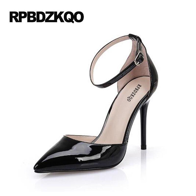 57a630b8a6 Crossdresser Tamanho Grande Scarpin Ultra 11 43 Alça De Tornozelo Sapatos  Baile Vermelho Sexy Mulher 12cm 5 Pulgada Fetiche Couro Patente Bombas  Sandálias ...