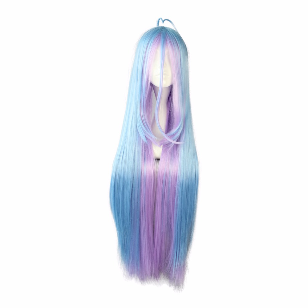 MCOSER Free Shipping Synthetic 105cm multi-color Long straight hair Cosplay Wig 100% High Temperature Fiber Hair WIG-558B
