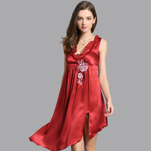100% Natural Silk Nightdress Female Sleeveless V-Neck Sling Lingerie Nightgowns Embroidery Sleepwear D33121