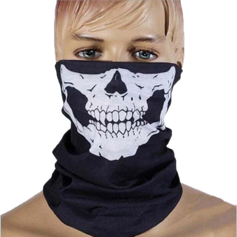 1pcs Halloween Cosplay Bicycle Ski Skull Mask Half Face Mask Ghost Scarf Neck Warmer skull Party Mask