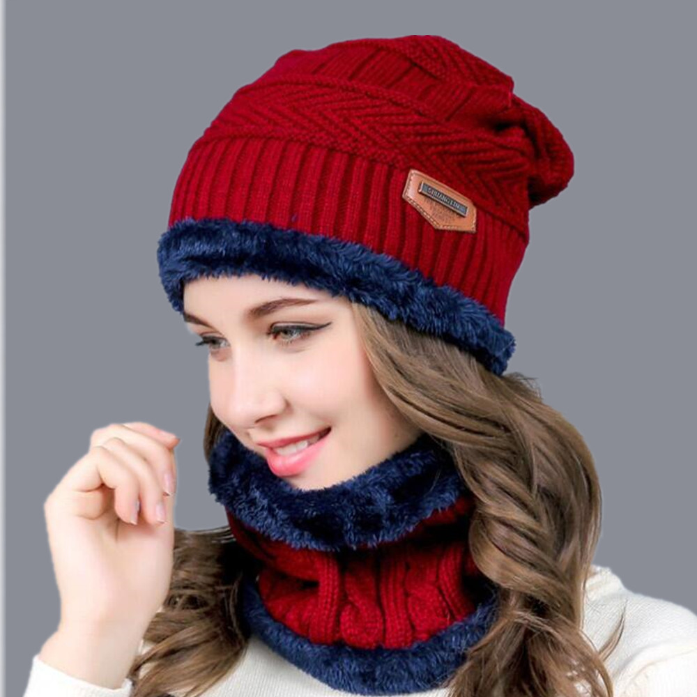 2017 Hot Balaclava Knitted hat scarf cap neck warmer Winter Hats For Men women skullies beanies super warm Fleece mask dad cap