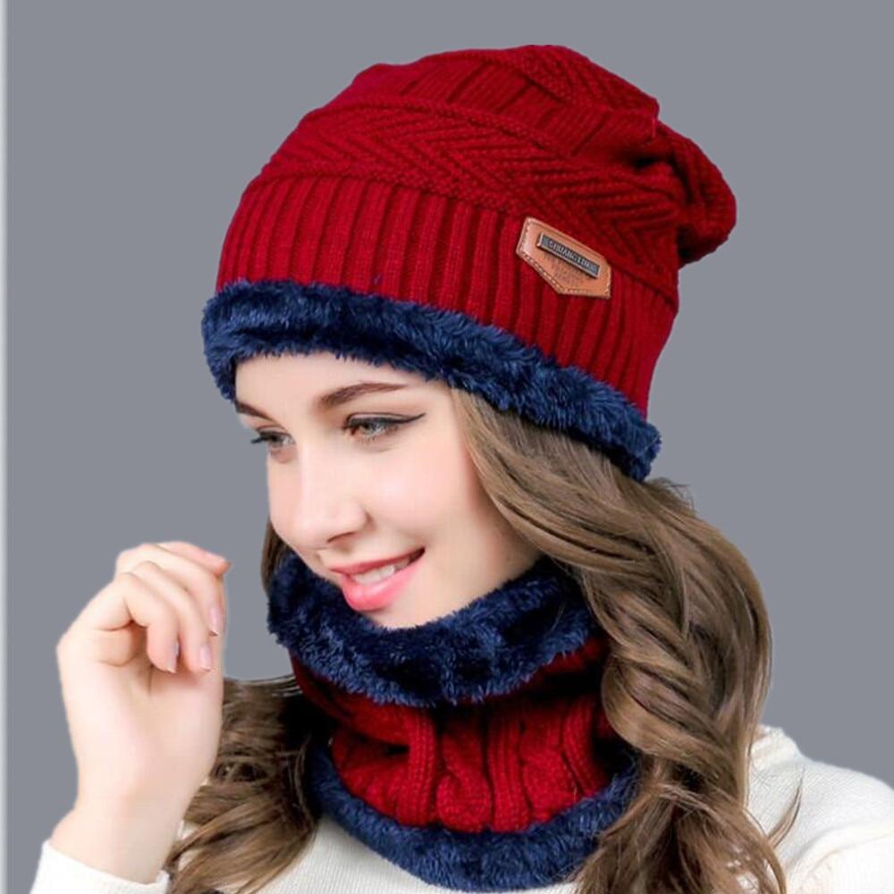 Hot Balaclava Knitted hat scarf cap neck warmer Winter Hats For Men women skullies beanies super warm Fleece mask dad cap(China)