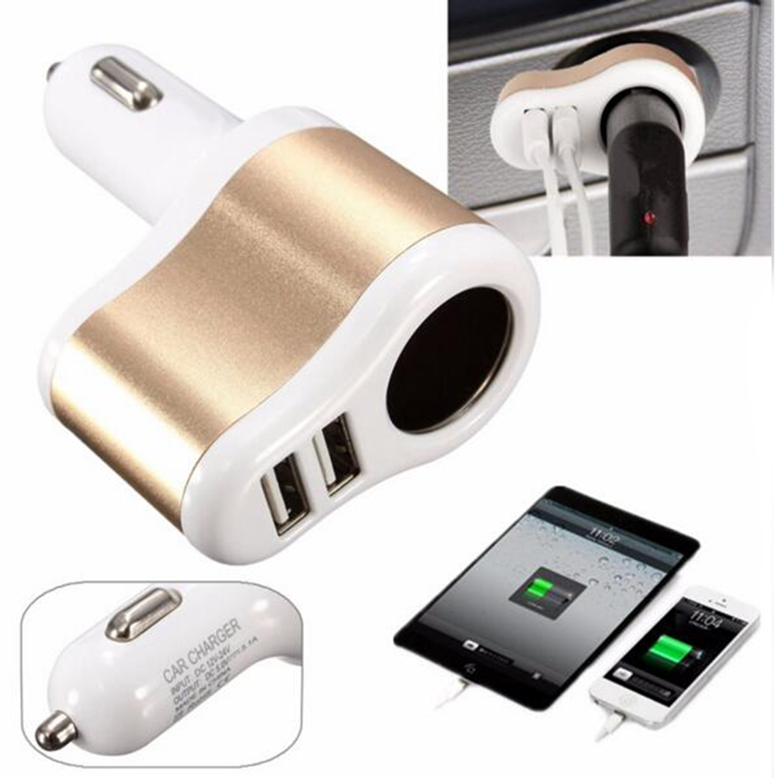 Marsnaska Universal Dual Ports Usb One Way Car Cigarette Lighter Power Socket Car Charger Adapter 5V