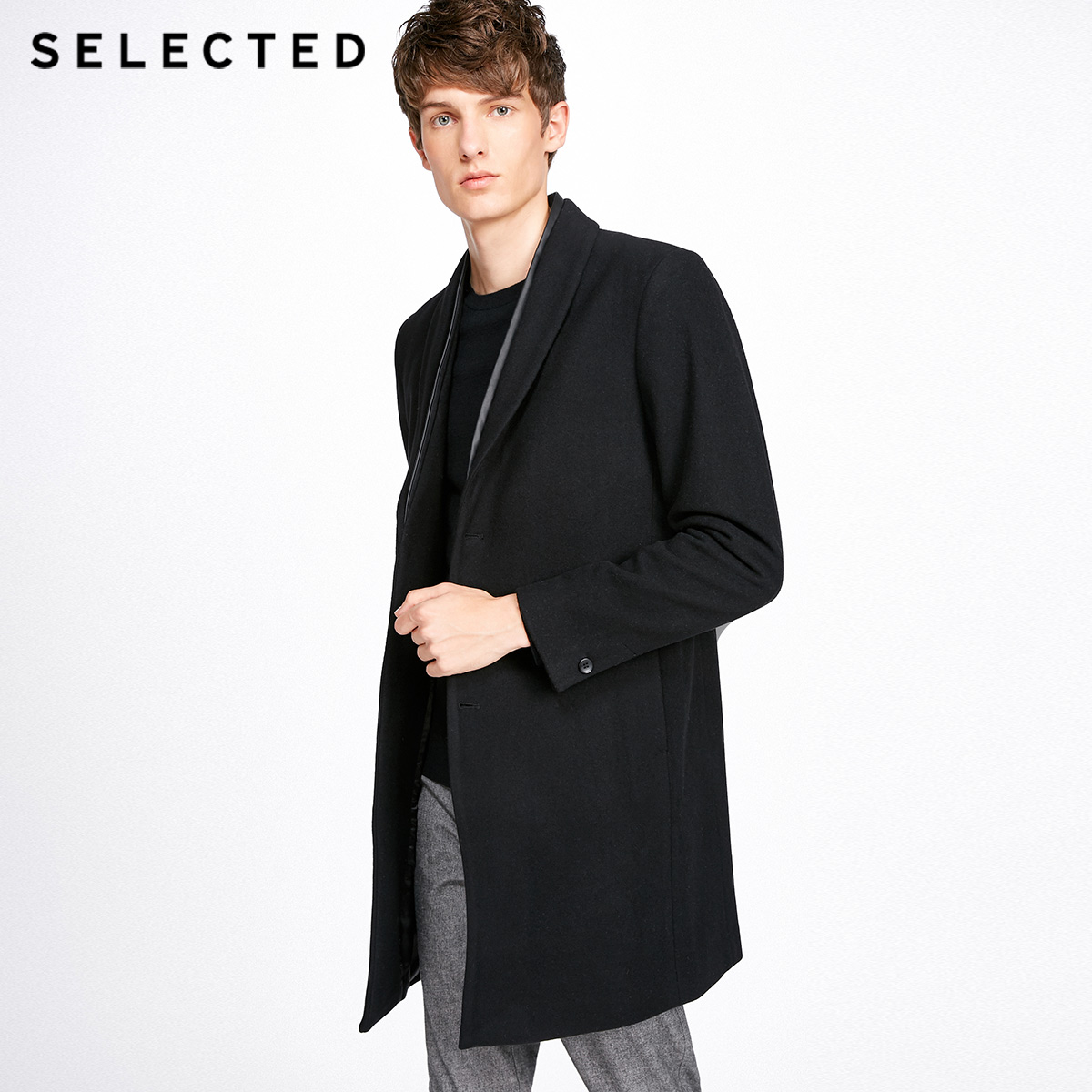 SELECTED Winter Long Wool Coat Men's Contains Woolen Male Clothes Outwear Jacket S | 417427521