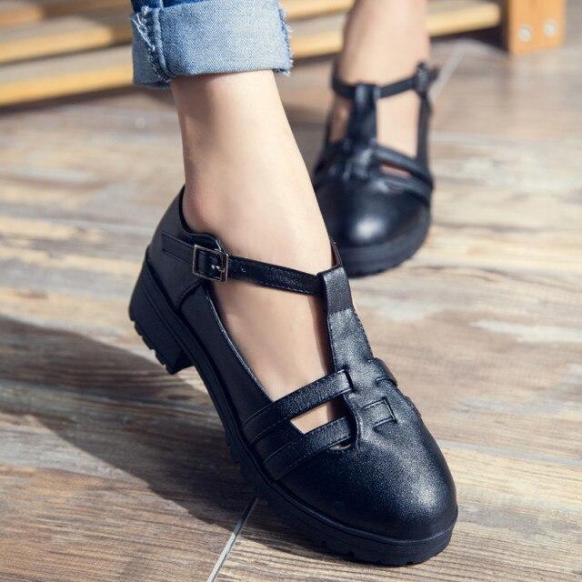 Primavera 2017 roma vintage cut-outs t-strap zapatos oxford para las mujeres heb