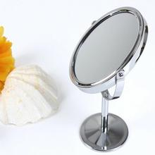 Korean Metal Double Sided Mirror Makeup Dressing Mirrors Desktop Rotating1:2 Magnification Function women Make up tools