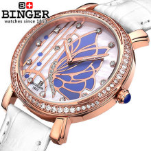 Original GENEVA Bangle Binger Watches 18k Gold Filled Crystal Women Bracelet Butterfly Dress Girl Quartz Watch Casual Wristwatch