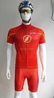 SaiBike marque Super Hero Le Flash homme Cyclisme Maillots Ropa Ciclismo/hommes d'été Respirant Vélo Vêtements/Rapide-sec GEL Pad