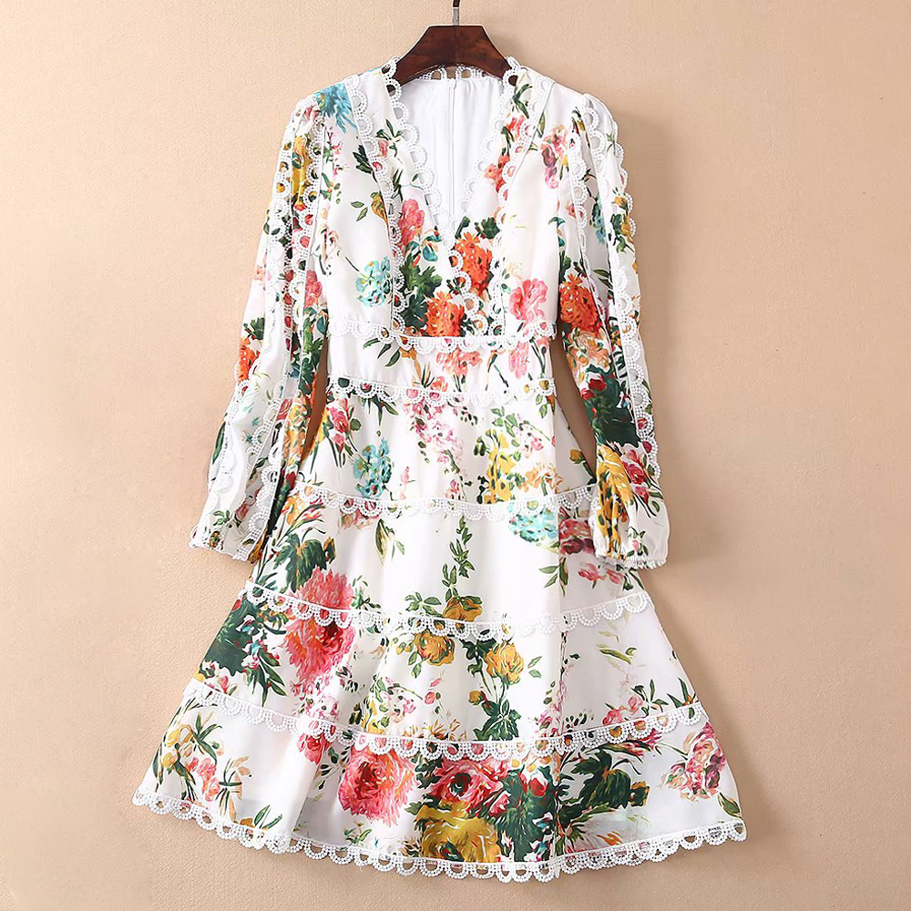 Red RoosaRosee 2019 Fashion Runway Designer Summer Dress Women s Sexy V Neck Lantern Sleeve Floral