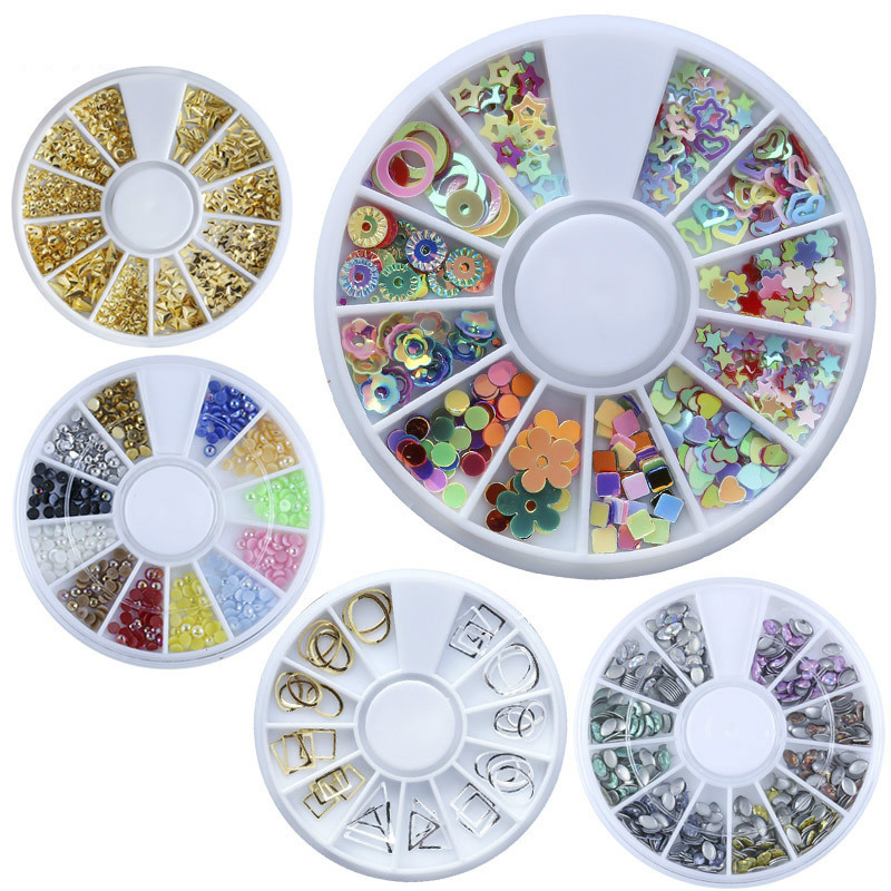New 3D Cystal Colourful Nail Art Decoration Wheel,Acrylic/Glass/Pearl/Metal Nail Art Rhinestones Different shapes
