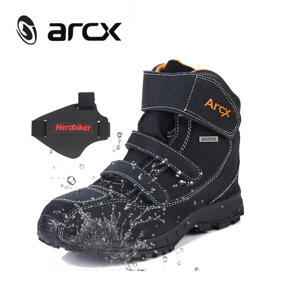 ARCX Waterproof Motorcycle Boots Motorcycle Riding Boots Genuine Cow Suede Leather Riding Shoes Street Moto Motorbike Shoes