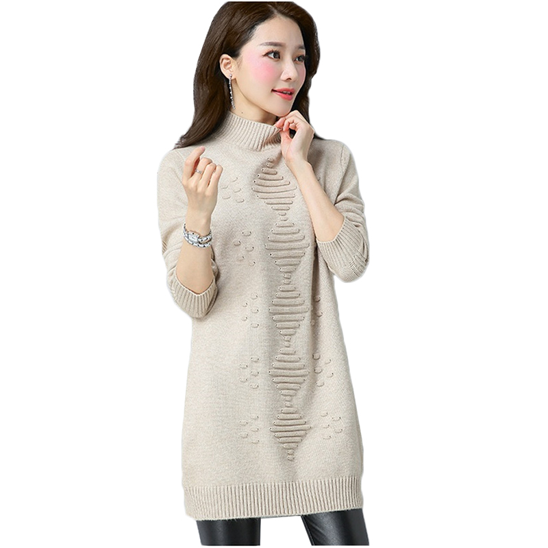 Autumn Winter Women Knit Sweater Pullover Clothes Solid Long Sleeve Turtleneck Sweater Warm Knit Bottoming Shirt Female Tops 926