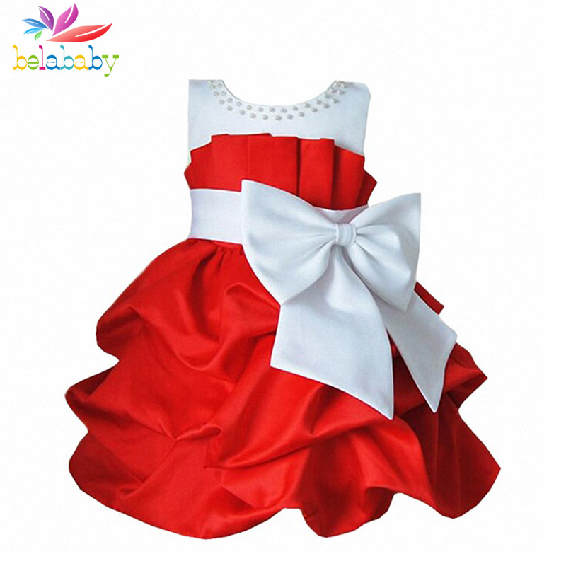 Belababy Princess Girl Dress 2017 Summer Fashion Baby Spring Children Bowknot Sleeveless TuTu Dress Kids Party Dresses For Girls free shipping new arrival 2015 fashion summer baby girl lovely flower sleeveless bowknot round neck party dress hot sale