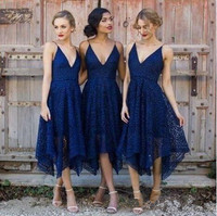 Simple Lace Bridesmaid Dress 2019 Tea Length Wedding Party Gowns Wedding Guest Dress vestidos dama de honor dress bridesmaid