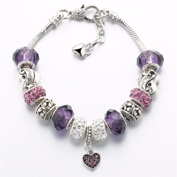 17KM Vintage Silver Color Charm Glass Bracelets For Women 17 New Crystal Heart Beads Bracelets & Bangles Pulseras DIY Jewelry 37