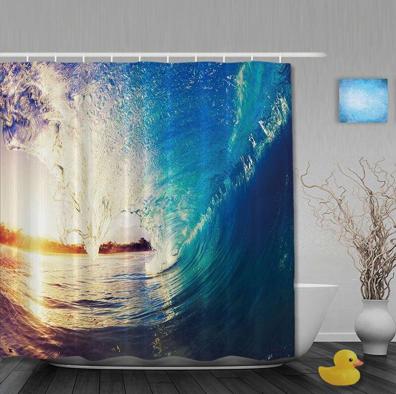 Custom The Waves Sea Shower <font><b>Curtains</b></font> Anti-bacterial Bathroom Fashion Blue And Orange With hooks bathroom <font><b>Curtain</b></font>