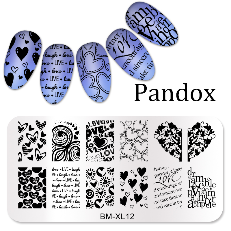 Rectangle Stamp Plate Summer Heart Love Style Nail Art Template Manicure Nail Stamping Image Plate
