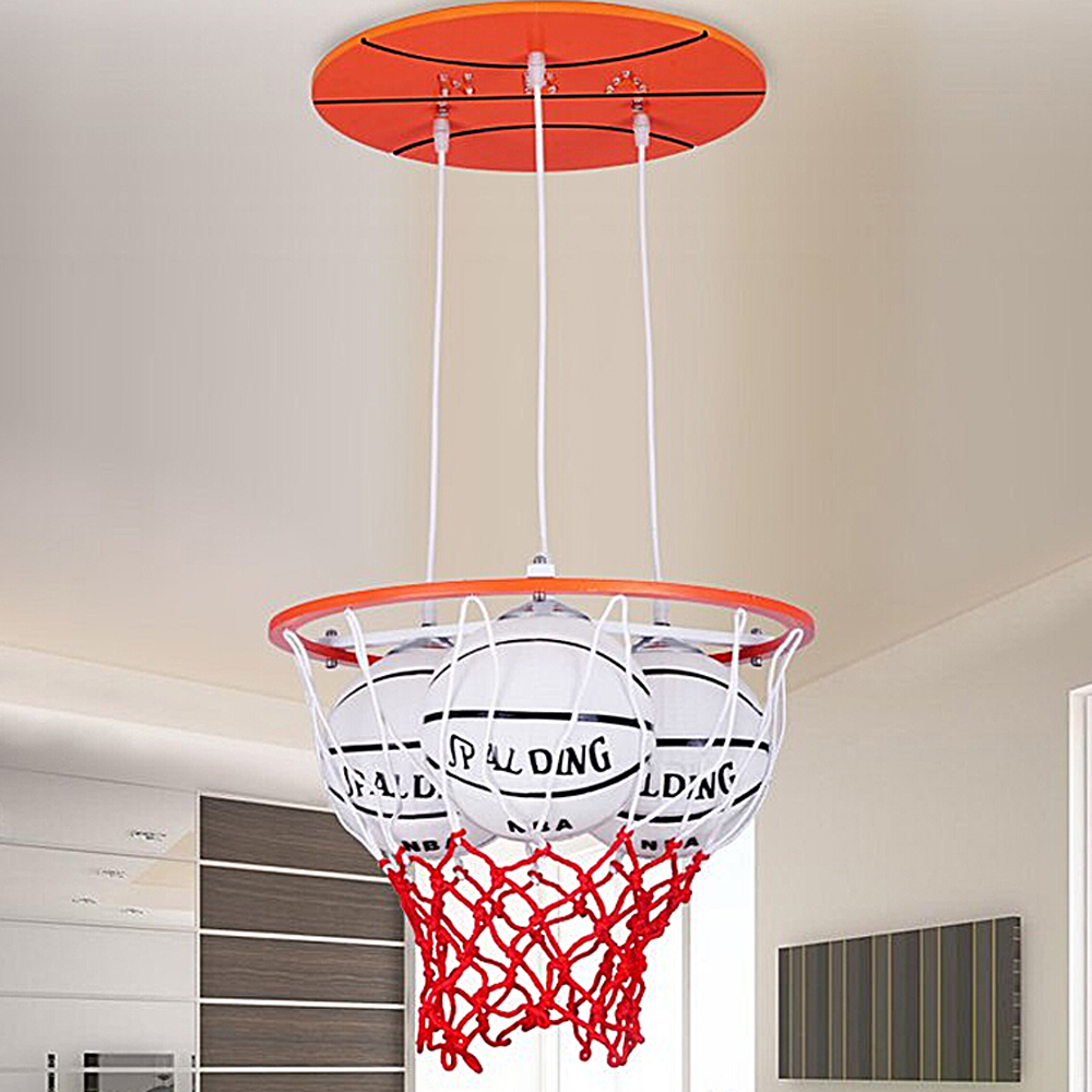 Теплые и романтический мастер Спальня Творческий подвесной светильник led простой современный личность Мальчик номер Баскетбол led подвесны...
