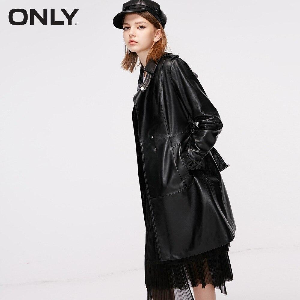ONLY  Women's Buckle Waist Sheepskin Leather Jacket |118310544