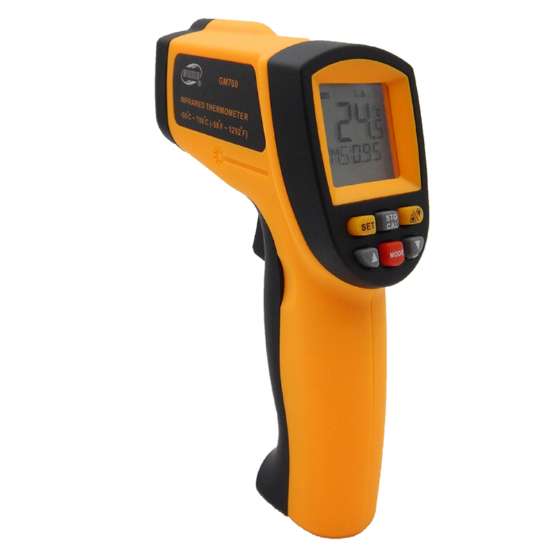 Digital laser infrared thermometer Non-Contact LCD IR Infrared Thermometers Gun GM700 -50~700C Temperature Meter Free Shipping  t010 new digital temperature meter tester mastech ms6520a laser pointer non contact infrared ir thermometer free shipping