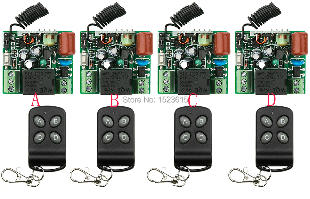 AC220V 1CH Wireless Remote Control System teleswitch 4 transmitter and 4 receiver universal gate remote control /radio receiver new restaurant equipment wireless buzzer calling system 25pcs table bell with 4 waiter pager receiver