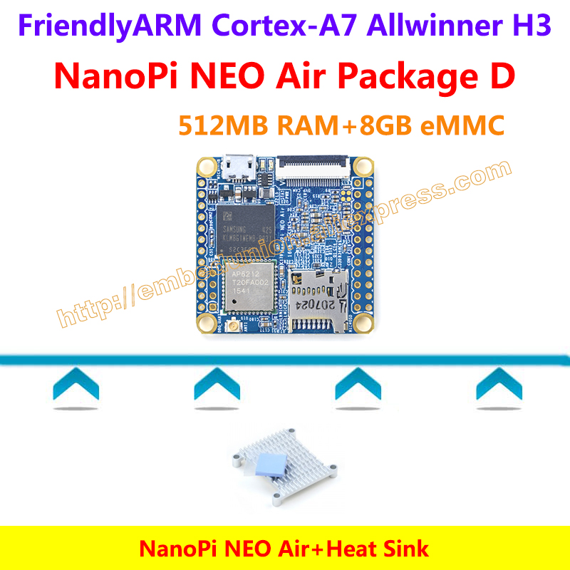 ФОТО Quad-core Cortex-A7 FriendlyARM NanoPi NEO Air(512MB RAM)+Heat Sink=NanoPi NEO Air Package D(WIFI&Bluetooth,8GB eMMC)