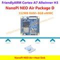 Quad-core cortex-a7 friendlyarm nanopi neo ar (512 mb ram) + dissipador de calor = nanopi neo ar pacote d (wifi & bluetooth, 8 gb emmc)