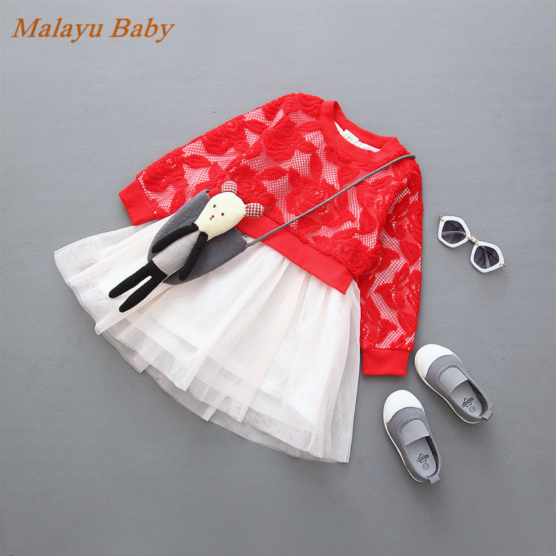 Malayu Baby New fall 2016 European & American girls lace flower princess gauze long-sleeved dress (no accessories) 2-6 year girl 2014 new fashion fall european american style flower butterfly print sundress baby