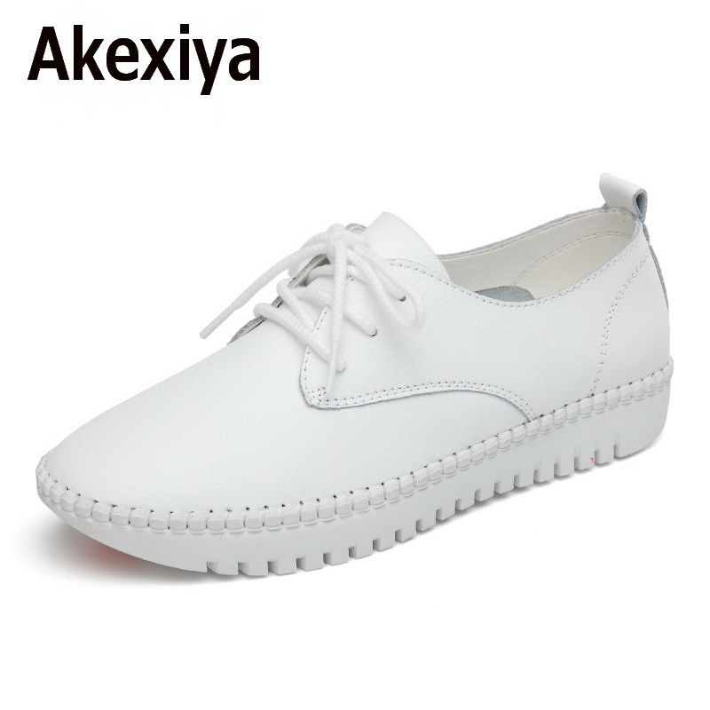 Akexiya Leather Flat Shoes For Women 2017 Spring Summer Fashion Casual White Loafers Shoes Round Toe Lace-up Muffin Female Shoes