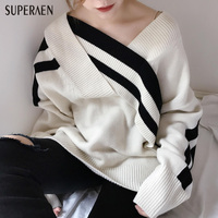 SuperAen Korean Style Women Sweater 2017 Autumn and Winter New V neck Sweater Women Stripes Loose Cotton Wild Sweater Women Tops