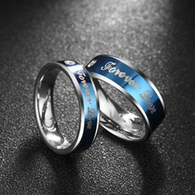 Seanuo Blue Forever Love couple Valentine's Day ring jewelry fashion romantic men women stainless steel anniversary wedding ring
