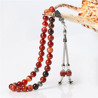 BFQ 100 Original Natural Striped Red Agates Stone 33 Prayer Beads Islamic Muslim Tasbih Rosary Misbaha
