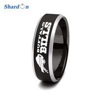 SHARDON Rings Sporty Men Ring Black Beveled Two Toned 8mm Tungsten Ring NFL Football Buffalo Bills