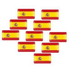 10 pçs 3d etiqueta do carro espanha bandeira nacional tronco do corpo do carro logotipo da motocicleta auto personalidade decoração adesivo acessórios de automóvel