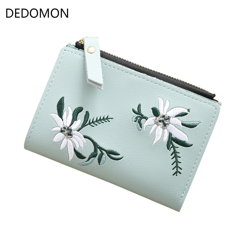 Women Wallet Leather Zipper Flowers Embroidered Ladies Fashion Purses Mini Bag Women PU Leather Coin Purse Card Holder Wallets aoeo plaid women purse small wallets mini bag soft leather double photo holder zipper coin purses ladies slim wallet female girl