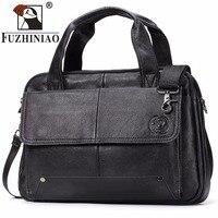 FUZHINIAO 2018 New Men Retro Briefcase Business Shoulder Bag Genuine Leather Handbag Computer Laptop Travel Male