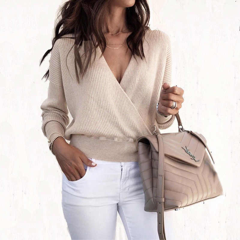 New Arrival 2018 Sweater Women Solid Long Sleeve Office Ladies Tops Sexy V  Neck Knitted Sweater efe345d3a762