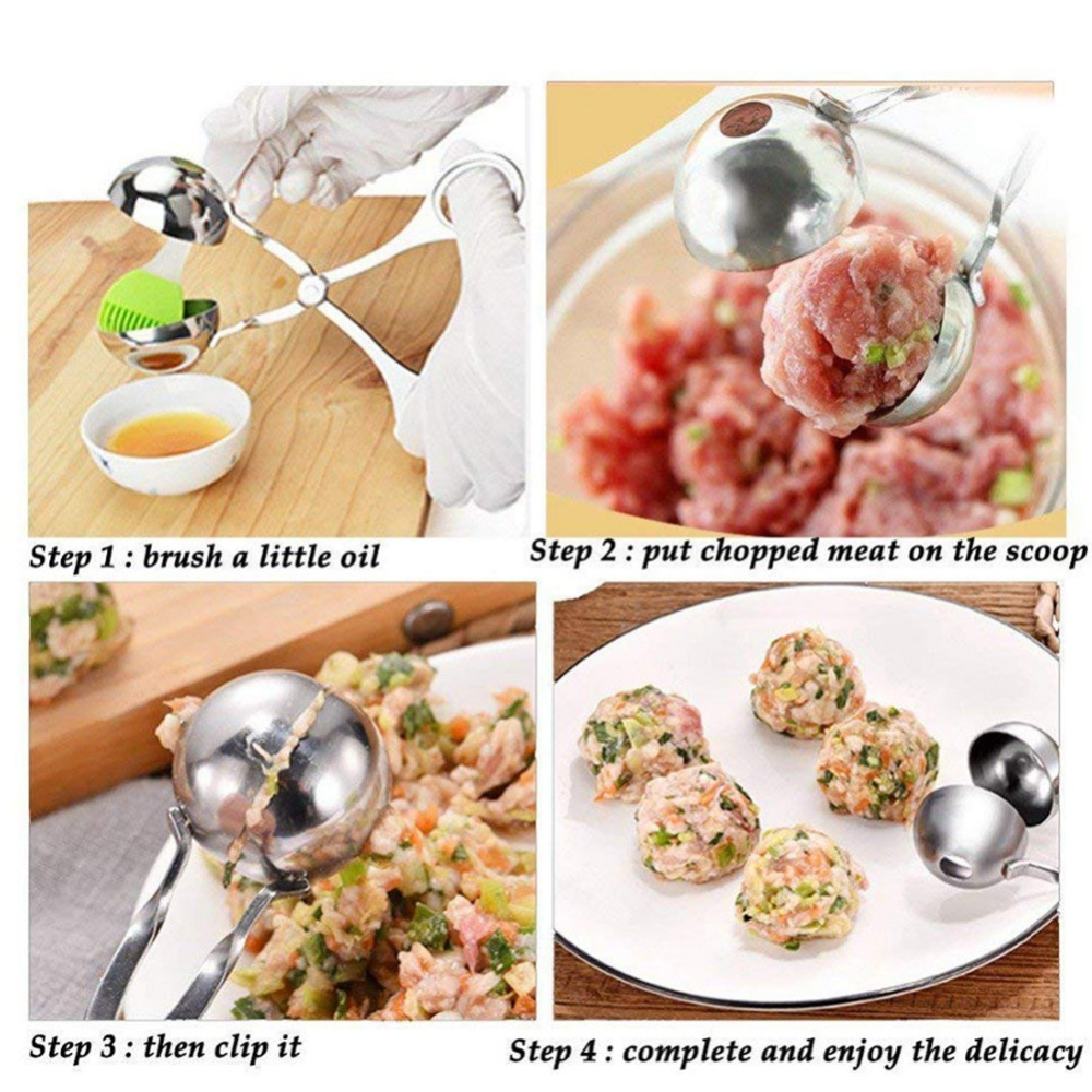 Meatball Maker Mold 304 Stainless Steel Stuffed DIY Rice Fish Meat Ball Maker Meatballer Scoop Clip Kitchen Tools