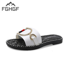 FGHGF Home Slippers Indoor Floor Shoes Metal Decoration Silent Sweat Slippers For Summer Women Sandals Slippers Fashion in 2019