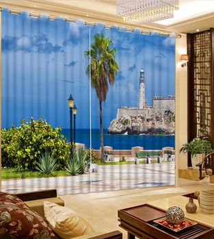 Home Decoration Window Curtaion 3D Printing Blackout Curtain sea landscape Curtains For Living room Bedroom Custom Drapes