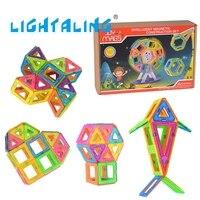 Kids Toys Educational Compatible With Magnetic 56 Pcs Magnetic Blocks Designer 2PCS Roller 3D DIY Models