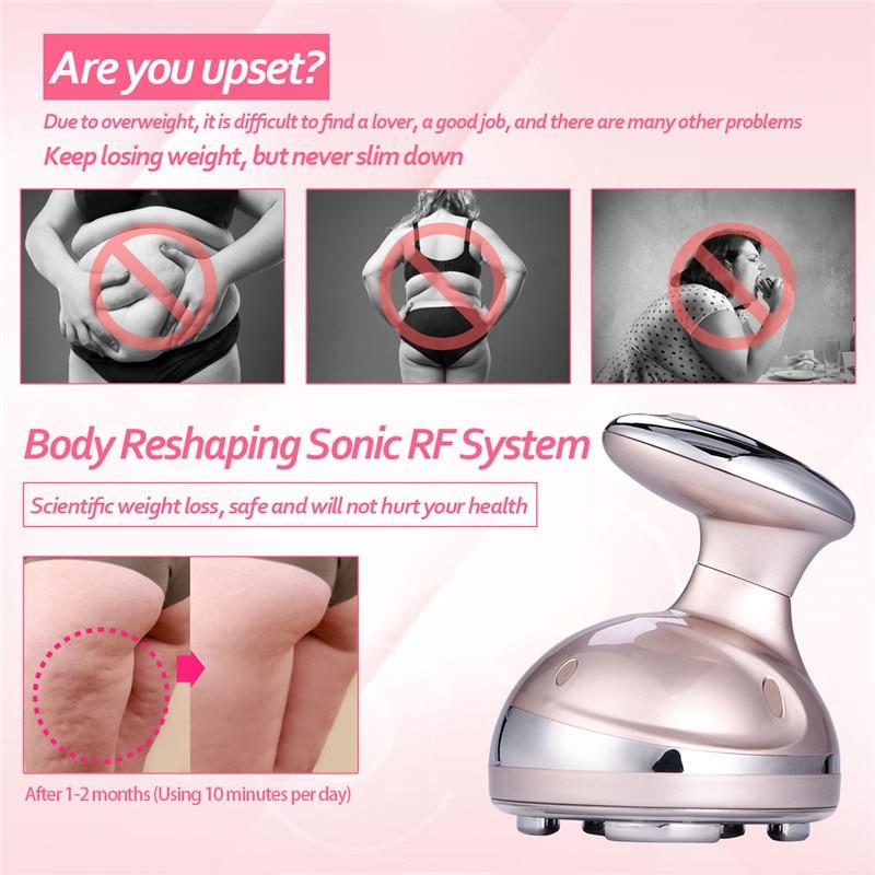 RF cavitación ultrasónico adelgazante masajeador LED quemador de grasa Anti celulitis Lipo dispositivo de ajuste de la piel pérdida de peso máquina de belleza