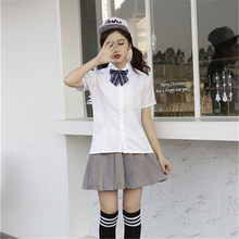 54f4cc875f C100 envío gratis de alta escuela marinero uniforme falda camisa a cuadros  traje Cosplay traje uniforme escolar marinero japonés