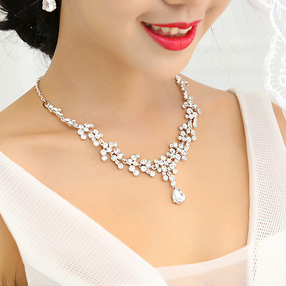 Shinestone Simulated Pear Crystal Cubic Zirconia Bridal Jewelry Sets Necklace Earring Sets Fashion Wedding Gift