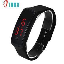 Hot hothot 2016 Fashion Ultra Thin Girl Men Sports Silicone Digital LED Sports Wrist Watch Free Shipping at31 Dropshipping