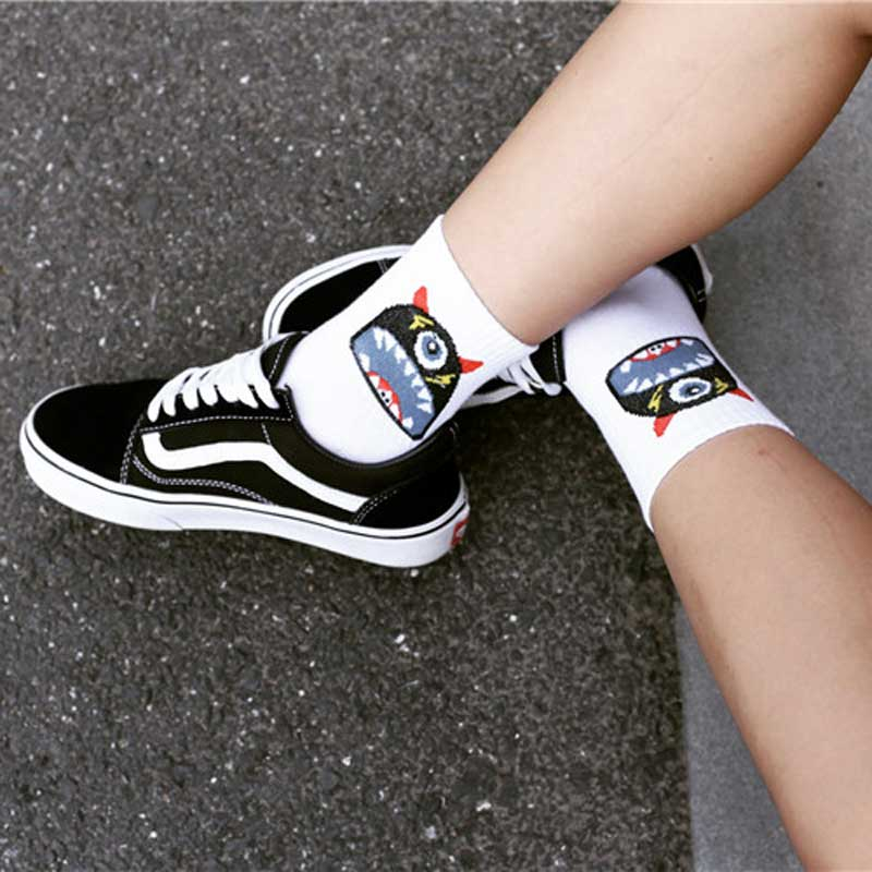 Cartoon Funny Monster Cotton Woman   Socks   Harajuku Skateboard Style Cool Funny Ankle Thick Winter   Socks   Cute Skateboard Cotton