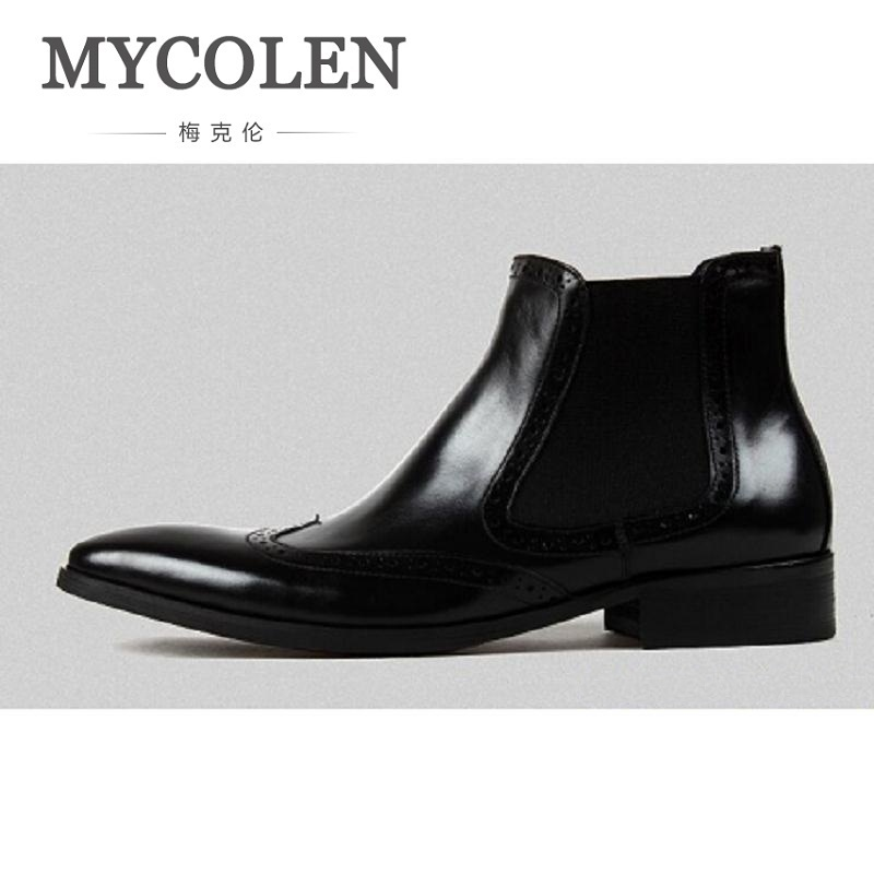 MYCOLEN New Autumn Boots Men Shoes Casual Ankle Boots Black Slip on Classic Business Wedding Shoes Office Formal Male Flat new 2017 men s genuine leather casual shoes korean fashion style breathable male shoes men spring autumn slip on low top loafers
