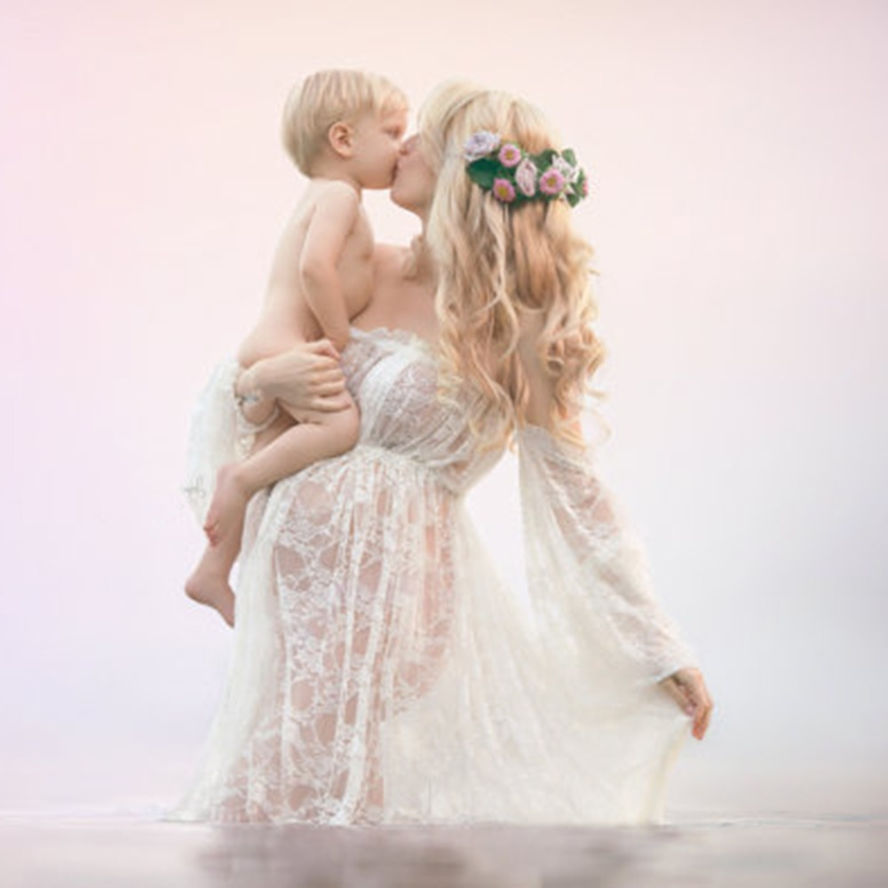 Image 3 - Maternity Photography Props Pregnancy Fancy Dress Lace Robe Strapless Maxi Gown Maternity Dress Split Front Women Long Dress-in Dresses from Mother & Kids